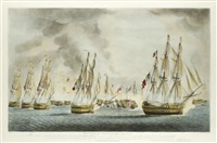 the battle of trafalgar: rear division; in the rear; van division; in the van (4 works) by robert dodd