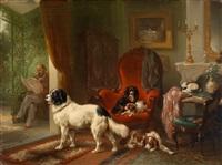interieur mit hunden, ausblick auf eine pergola by wouter verschuur the elder