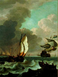 shipping in a stiff breeze off dordrecht by hendrik rietschoof