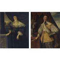 portraits of a gentleman, thought to be sir robert cooke (d. 1643) (+ his first wife dorothy fleetwood, various sizes; pair) by edward bower