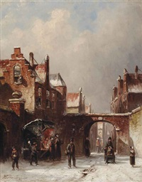 a market stall on a cold wintersday by pieter gerardus vertin