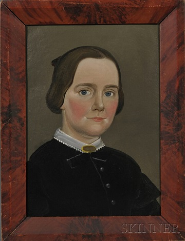 portrait of a lady wearing a black dress with white collar by american school prior hamblen 19