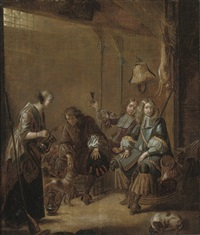 huntsmen being served wine by a girl in an interior by jacob duck