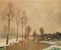 paysage hivernal sur la lys by albert saverys