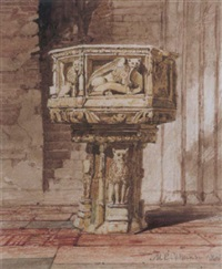 norfolk church font by miles edmund cotman