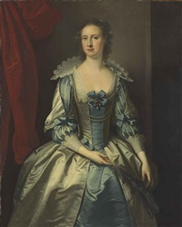 portrait of a lady, possibly mrs. fryer, three-quarter-length, holding a feather by thomas hudson