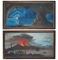 """grotta blu a capri"""" e """"eruzione notturna del vesuvio (2 works) by posillipo"""
