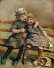 two girls on bench by emilie (caroline e.) mundt