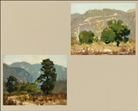 san gabriel valley landscapes (2 works, 1 sgd.) by ferdinand kaufmann