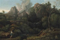 a wooded river landscape with a volcano erupting beyond by gaspard dughet