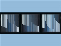 kompostion in hellblau (triptych) by rolf forster