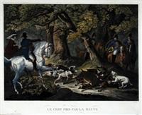 le cerf pris par la meute (set of 4) by jean-pierre-marie jazet