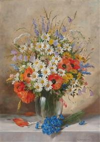 sommerblumenstrauß in einer vase by alois zabehlicky