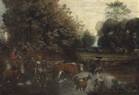 a wooded landscape with a family driving cattle and goats through a stream, horses grazing beyond by jan siberechts