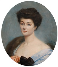 portrait of a lady in blue by rené lelong