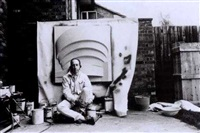 richard hamilton with fibre-glass relief of the guggenheim museum, new york by michael cooper