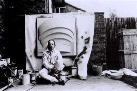 richard hamilton with fibre glass relief of the guggenheim museum new york by michael cooper