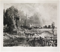 the rainbow, salisbury cathedral (engraved by david lucas) by john constable
