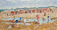 children on the beach (+ 2 others,smlr; 3 works) by camille lesne