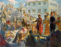 meeting of ivan the terrible with wedding ambassadors by pavel petrovich sokolov-skalua