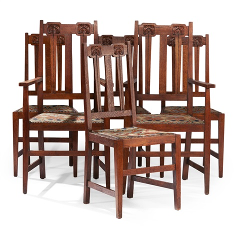 Set Of Six Arts Crafts Oak Dining Chairs By Liberty
