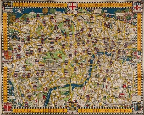 London Town Map.Wonderground Map Of London Town By Macdonald Gill On Artnet
