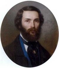portrait d'homme portant une lavalière avec un camée (work on 4 sheets) by louis-etienne guemied