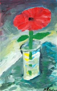 red flower in a vase by vladimir yakovlev
