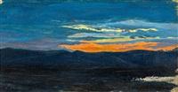 landschaft mit sonnenuntergang by karl blechen