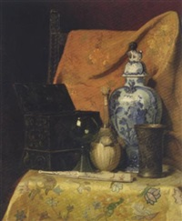 still life with fan and oriental vase by axel hendrik hulle