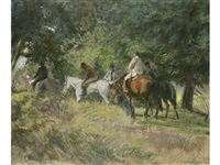 riders in a woody parkland by norman hepple