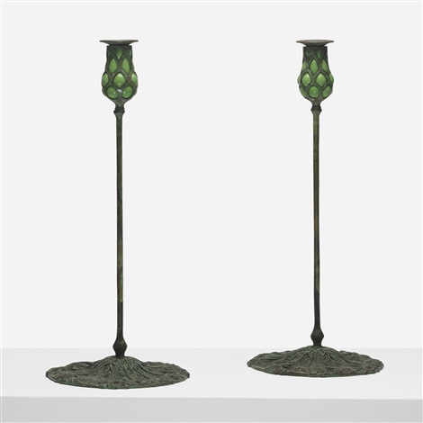 candlesticks pair by tiffany studios
