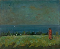 uferlandschaft mit roter figur by paul basilius barth