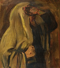 jewish man wrapped in a prayer shawl by leopold pilichowski