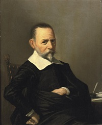 portrait of a gentleman, in a black costume with a white collar and cuffs, seated at a writing desk by herman mijnerts doncker