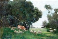 cows and sheep grazing by archibald kay