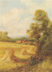 landscape with harvesters and cornstocks by peter leslie