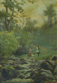 children by a brook, swaledale by ernest higgins rigg
