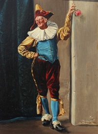 jester in costume dangling a flower bud by william f. warden