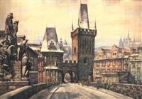 ansicht der karlsbrücke in prag, dahinter der hradschin und die kleine seite by alois jezek