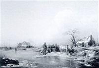 figures in a frozen winter landscape by friedrich fritz hildebrandt