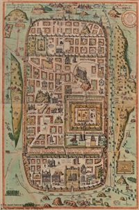 jerusalem map (after adrichom) by franz hogenberg