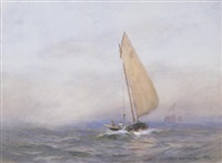 a small vessel on a misty sea (+ a fishing boat at sea; 2 works) by william st. thomas smith