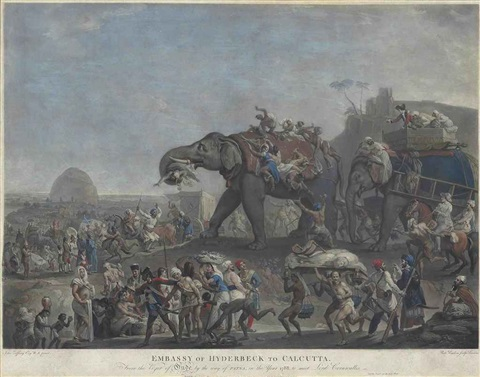 embassy of hyderbeck to calcutta from the vizier of oude by the way of patna in the year 1788 to meet lord cornwallis tiger hunting in the 2 works by richard earlom
