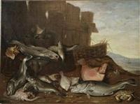 natura morta di pesci presso una staccionata by willem ormea