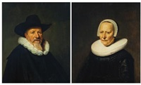 portrait of a bearded gentleman, possibly a member of the valckenier family, bust-length, wearing a hat; portrait of his wife, bust-length, wearing an embroidered black dress (pair) by dirck dircksz van santvoort