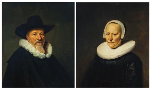 portrait of a bearded gentleman possibly a member of the valckenier family bust length wearing a hat portrait of his wife bust length wearing an embroidered black dress pair by dirck dircksz van santvoort
