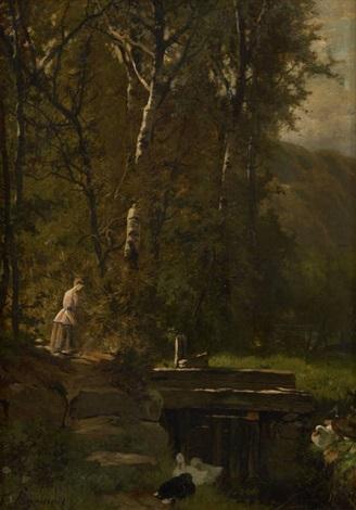 jeune fille au bord de lécluse by théodore fourmois