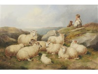drover and sheep resting by a coastal path by john charles morris