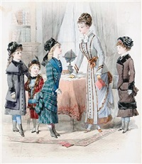 a school mistress and her pupils (+ 3 studies; 4 works) by jules david